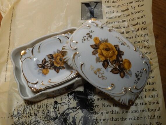 Cigarette Box Ashtray Trinket Dish Ceramic Vintage Floral