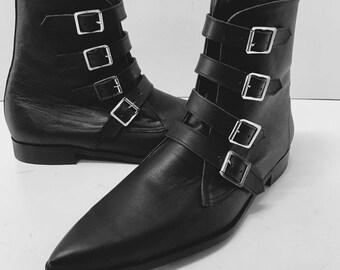 4 Strap Winklepicker Boots in Black Leather