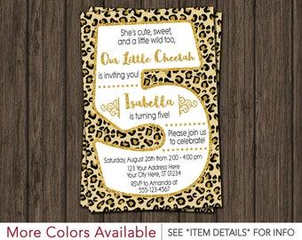 Cheetah 5th Birthday Invitation - Cheetah Fifth Birthday Invitations