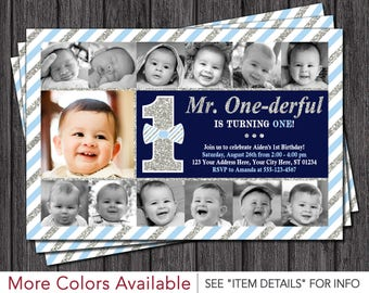 Mr. ONEderful Birthday Invitation | Mr ONE-derful First Birthday Invitations | Newborn to 12 months, Navy, Light Blue and Silver