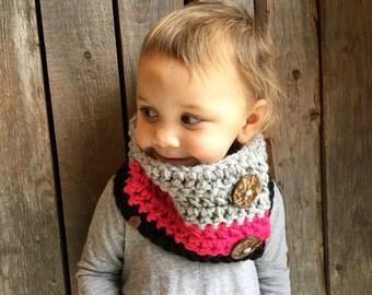 Crochet Cowl, Toddler Cowl, Button Cowl, Baby Cowl, Women's Cowl