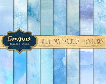 Blue Watercolor Textures, blue watercolour digital paper, printable scrapbook paper paint backgrounds, baby shower, instant download