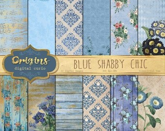 Blue Shabby Chic Digital Paper, blue and gold vintage floral backgrounds, rustic wood and burlap flower printable decoupage scrapbook paper