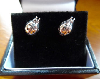 Silver Ladybird Earrings - Sterling Silver - Free Delivery & Gift Box - stylish - unqiue