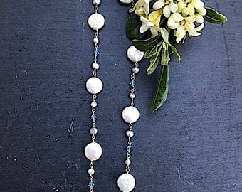Sterling Silver & Blue Swarovski Crystals, Fresh Water Coin Pearl Necklace with T Clasp #147B SM