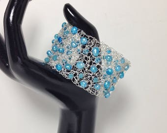 Statement Cuff Bracelet, Teal Blue, Aqua, Cultured Pearl, Faceted Glass, Non-Tarnish Silver Plated Wire Crochet
