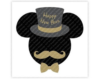 Disney, Mickey, Happy New Year, Top Hat, Mustache, Bow Tie, Head, Mouse Ears, Digital, Download, TShirt, Cut File, SVG, Iron on, Transfer