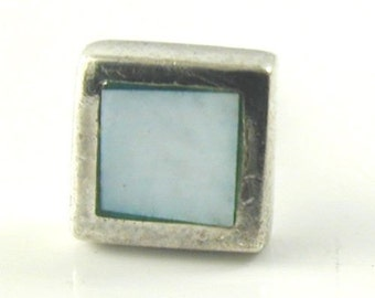 Blue mother of pearl square stud earrings silver butterfly backs