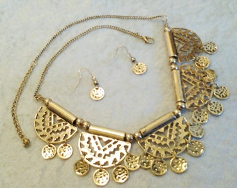 Gold Tribal Style  with Coins Necklace / Bib Necklace Tribal Bib Necklace.