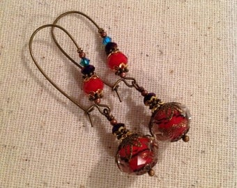 Faceted Lampwork Earrings, Red, Purple and Turquoise Lampwork Earrings, Filigree Earrings, Valentine Gift For Her, Swarovski Crystal CER-163