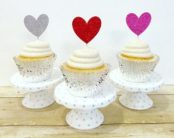 Be Mine Cupcake Toppers / Valentine's Day Cupcake Toppers / Love / Hearts