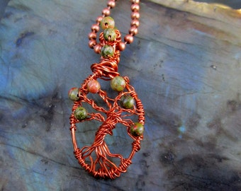 Tree of Life Pendant with Unakite in copper