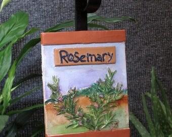 Rosemary herb garden marker