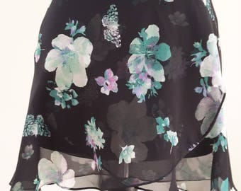 Black with green flowers - Ballet wrap skirt, made to order