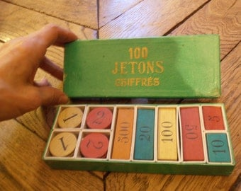A box of French vintage playing tokens