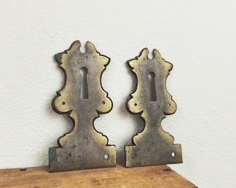 antique keyhole plates, brass door salvage hardware, historic home renovation, escutcheon