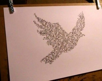"The Beatles ""Blackbird"" Handwritten Lyric Silhouette - BIG!! 11""x17"" PRINT -  Beatles Lyric Art - In Stock!"