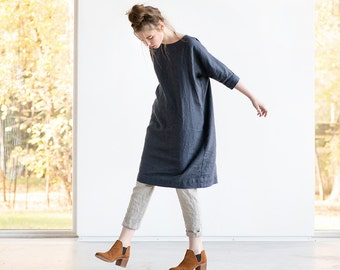 Washed linen tunic NOVEMBER / Linen tunic dress in charcoal / Linen tunica