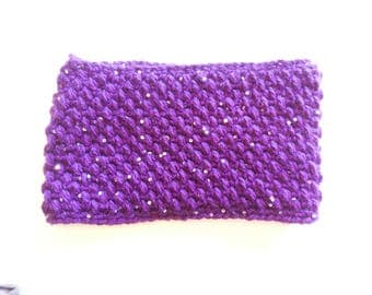Crochet Purple Cowl With Sequins