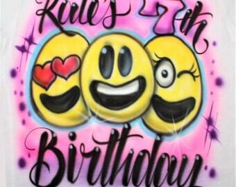 Personalized Emoji Birthday Party T Shirt, Girls Birthday Party, Birthday t shirt, Emoji, Emoji Birthday, Tutu, Emoji Party, Emoji Shirt