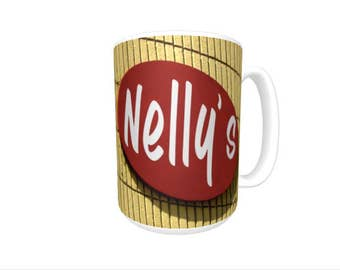 Personalized Coffee Mug featuring the name NELLY in photos of two signs; Ceramic mug; Unique gift; Coffee cup; Birthday gift; Coffee lover