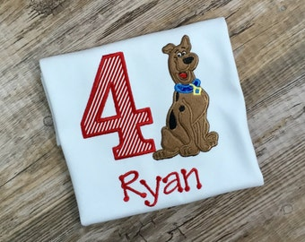 4th Fourth Birthday Scooby Shirt  Embroidered Scooby Doo Birthday Shirt.   Any age - Boy or Girl