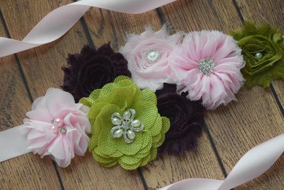 Maternity Sash belt, light pink, deep purple, avocado Sash,  flower Belt, maternity sash