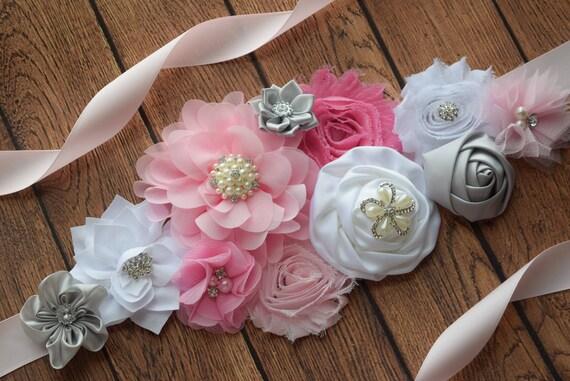 Flower Sash, pink grey and white Sash , flower Belt, maternity sash, flower girl sash, baby shower sash, gray sash