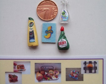 Dolls House Miniature Cleaning Products