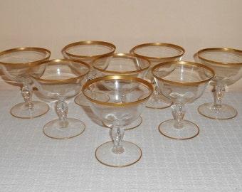 8 Elegant Glastonbury Lotus ATHENS Pattern Gold Banded Champagne or Sherbet Glasses