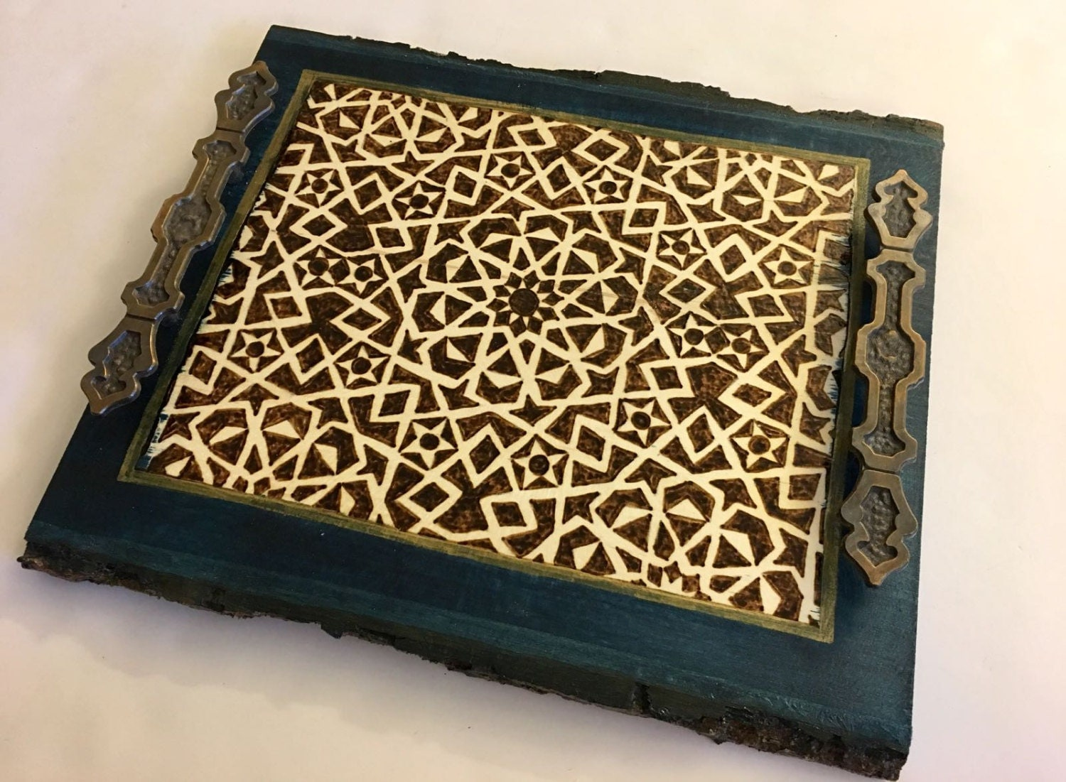 Decorative Tray Coaster Tray Coffee Table Tray Wooden Serving Platter Geometric Arabesque