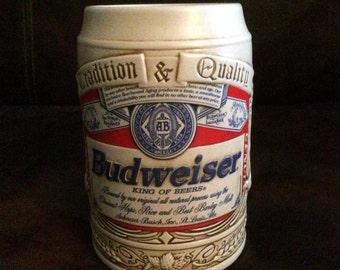 Vintage 1995 Budweiser Aneheiser Busch Label Stein Beer Ceramarte Mug New in box Eagle
