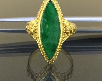 24k 999 Pure Yellow gold Natural untreated Imperial Dark Green Jade Jadeite Ring