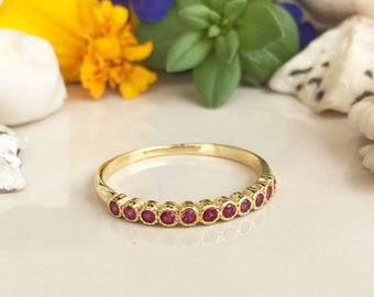 20% off-SALE! Ruby Ring - July Birthstone - Gold Ring - Stack Ring - TIny Ring - Dainty Ring - Fuchsia Ring - Thin Band - Half Eternity Ring