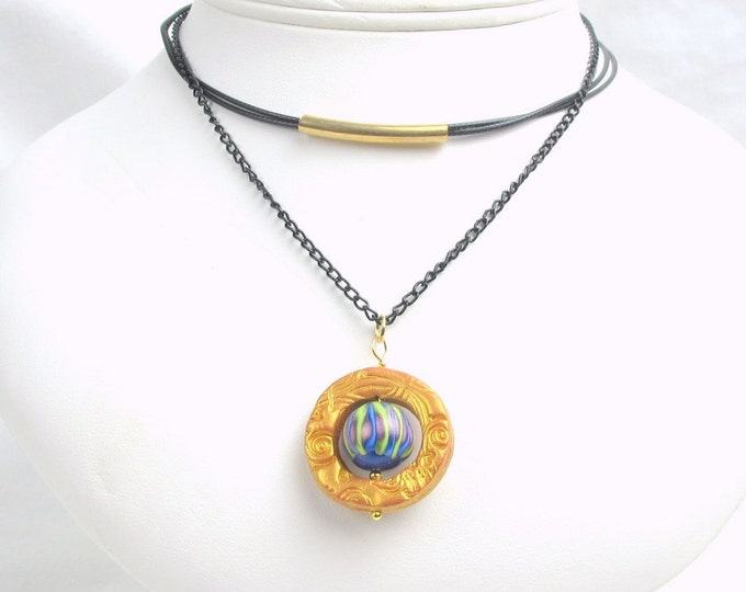 Handcrafted  Polymer Clay Moving Bead Pendant Choker Necklace