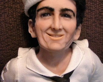 Amazing Sailor Figure / Doll with Display - Polymer Clay Sculpture by Dorit Dolls - One-of-a-Kind