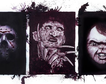 Horror Film Tribute Poster - originals painted with wine