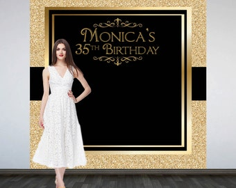 Glitter Glam Personalized Photo Backdrop -Black & Gold Photo Backdrop- Retro Birthday Photo Backdrop, Art Deco Personalized Backdrop