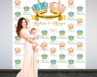 Royal Birthday Party Personalized Photo Backdrop - Royal Crown Birthday Photo Backdrop- Step and Repeat Photo Backdrop, Twins Birthday