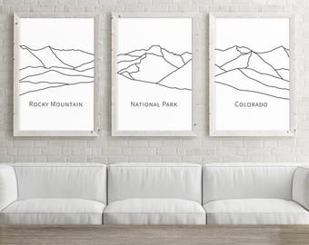 Set of 3 Large Wall Art, Colorado Rocky Mountain National Park, Printable Art, Mountain Art, 24x36 Minimalist Poster, Black and White Print