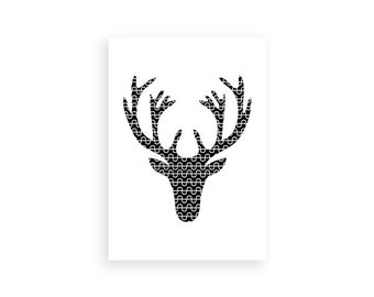 Deer print, Black and white poster, Minimal Art, Scandinavian design, Inspirational design, Deer art, Black and White