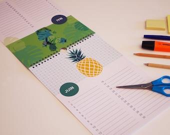 calendrier des anniversaires, perpetuel avec motif plume, jungle, ananas, calendrier permanent, cadeau pour les femmes, cadeau témoin
