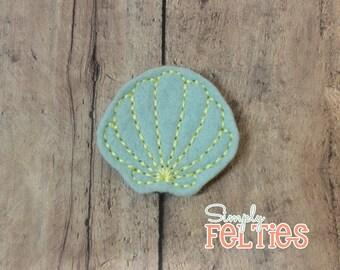 Seashell Felties--Mint and Light Yellow--Set of 4