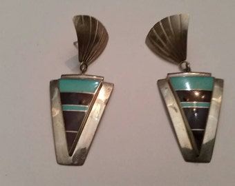 Vintage Native American  Turquoise Purple Sterling Silver Earrings Southwestern 925