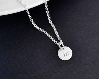 TINY STERLING Initial Necklace, Dainty Sterling Disc Pendant, Personalized Initial Necklace, Round Sterling Silver Initial Necklace