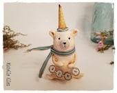 primitive Folk Art paper clay white polar bear doll with yellow polka dot hat handmade by Michelle Allen / Raggedy Pants Designs