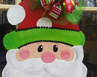 Christmas welcome sign. Christmas door decor. Santa door hanger. Santa wreath.