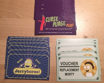 15 Rick & Morty cosplay cards! 5 Curse Purge Plus/ Needful Things and 5 Jerryboree Business cards as well as 5 Morty Vouchers!