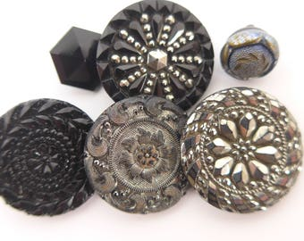 Antique Vintage Victorian Silver Glass Buttons Metal Shank x 6 - Ornate Patterns