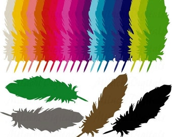 60% OFF SALE Rainbow Feathers Digital Clip Art - Commercial Use - Instant Download - M107